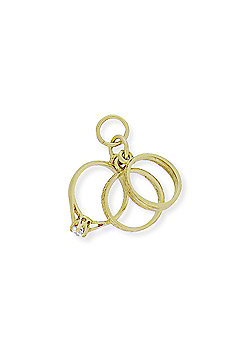 """9ct Gold """"Rings of Life"""" Charm Pendant - Engagement Wedding Eternity 28 x 28mm"""
