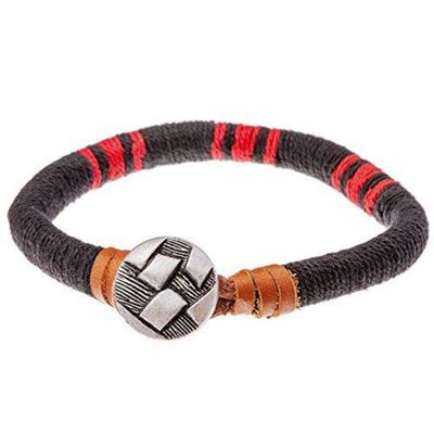 Urban Male Sandbanks Black, Red and Brown Coloured Cord and Leather Mens Bracelet