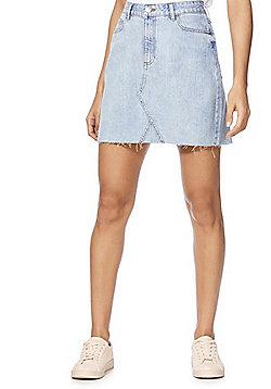 F&F Raw Hem Mid Rise Denim Skirt - Light Wash