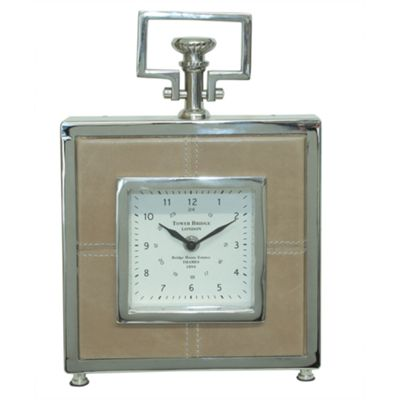 Leather Square Table Clock - Tan & Nickel