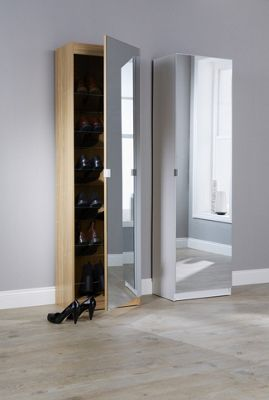 180Cm Mirrored Shoe Cabinet Mirrored Shoe Cabinet Oak