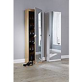 180Cm Mirrored Shoe Cabinet Mirrored Shoe Cabinet Oak