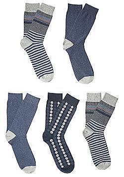 F&F 5 Pair Pack of Striped Fresh Feel Ankle Socks - Multi