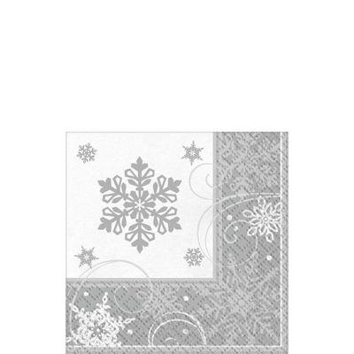 Sparkling Snowflake Beverage Napkins - 16 Pack