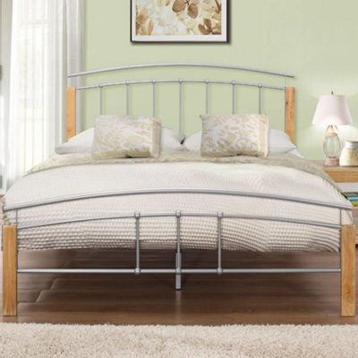 Happy Beds Tetras Wood and Metal Low Foot End Bed with Memory Foam Mattress - Silver and Beech - 4ft6 Double