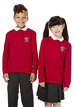 Unisex Embroidered School Sweatshirt with As New Technology - Red