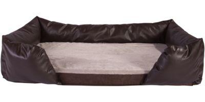 Silentnight Ultra Grade Memory Foam Dog Bed & Bolster Set - Cord Mink With Brown Faux Leather Bolster - Medium