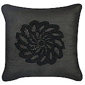 Beaded Flower Cushion - Black