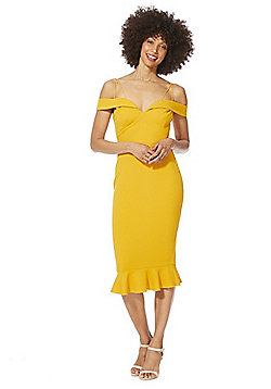 AX Paris Strappy Bardot Midi Dress - Mustard Yellow