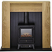 Adam Elleswood Stove Suite in Oak with Hudson Electric Stove in Black