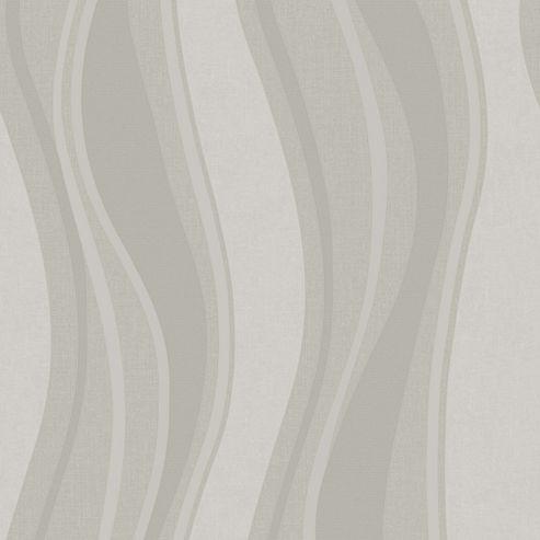 Superfresco Elan Grey/Silver Wavy Stripe Modern Texured Wallpaper