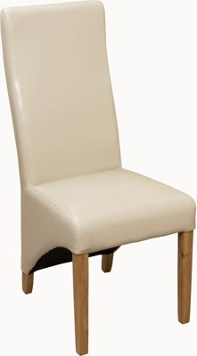 x2 Lola Curved Back Ivory Leather Dining Chairs