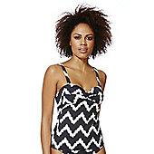 F&F Shaping Swimwear Chevron Print Twist Front Tankini Top - Black & White