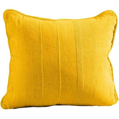 Homescapes Cotton Rajput Ribbed Tangerine Orange Yellow Cushion Cover, 45 x 45 cm
