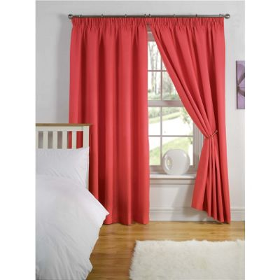 Hamilton McBride Thermal Backed Pencil Pleat Red Curtains - 46x54 Inches (117x137cm)