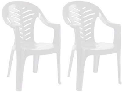Resol Palma Garden Chair - White - Patio Outdoor Plastic Furniture (Pack of 2)