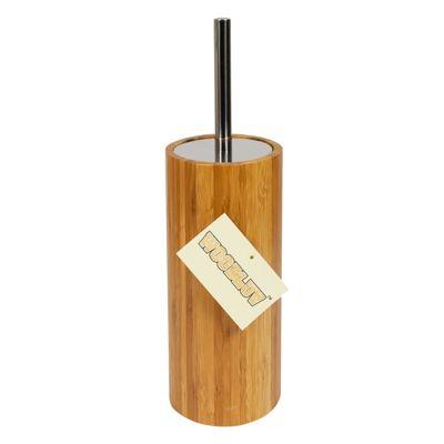 Woodluv Cylindrical Bamboo Toilet Brush & Holder Set