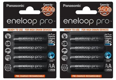 8 x Panasonic Eneloop PRO AA HR06 2500mAh NiMH Rechargeable Batteries Ready 2 Use