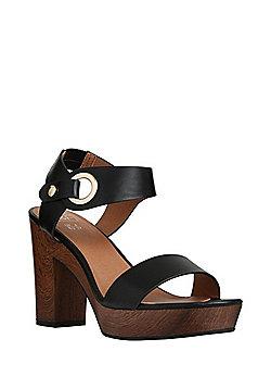 F&F Wood-Look Sole Platform Sandals - Black