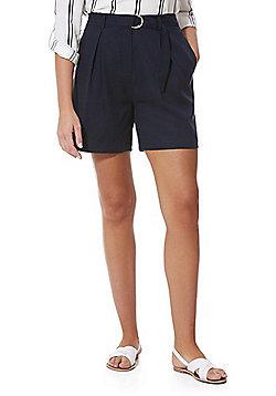 F&F Premium Tencel® D-Ring Belt Shorts - Navy
