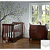 Obaby Stamford Mini Cot Bed 2 Piece/Sprung Mattress/Quilt and Bumper Nursery Room Set - White with Bonbon Blue