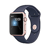 Apple Series 2 (42mm) Watch with Rose Gold Aluminium Case and Midnight Blue Sport Band