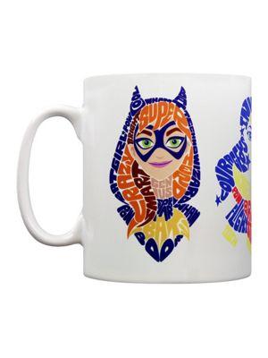 DC Super Hero Girls Typographic Trio 10oz White Ceramic Mug