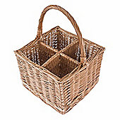Homescapes Natural Willow Wicker 4 Bottle Wine Carrier with Handle