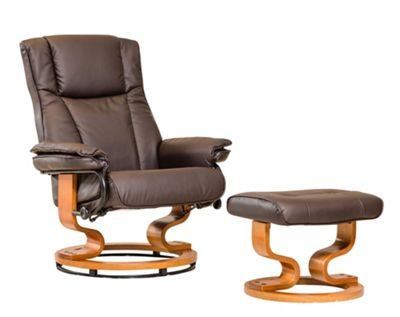 Sofa Collection Combault Swivel Chair With Massage And Heat Function And Footstool - Brown