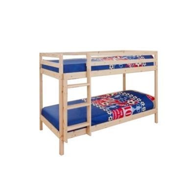 Comfy Living 2ft6 Shorty Children's ECO Wooden Bunk Bed in Pine with 2 Basic Budget Mattresses