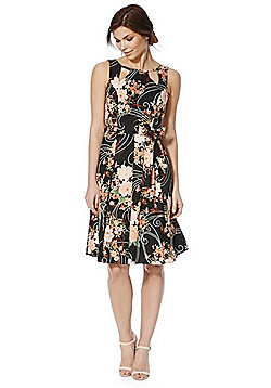 F&F Floral Cut-Out Detail Prom Dress - Black