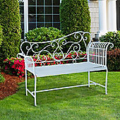 Outsunny 2 Seater Garden Bench Seating Furniture w/ Decorative Backrest White