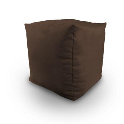 Brown Indoor Outdoor Bean Bag BBQ Cube Beanbag Seat Pouffe Foot Stool Water Resistant