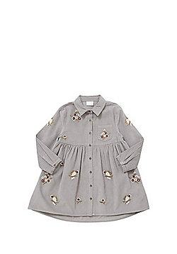 F&F Embroidered Corduroy Shirt Dress - Grey