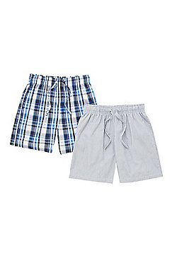 F&F 2 Pack of Woven Lounge Shorts - Blue
