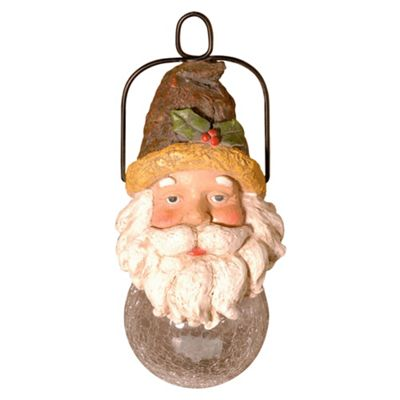 Polyresin Christmas Santa Head With Solar Glass Ball