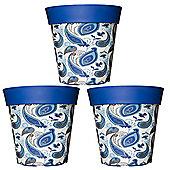 3 x 22cm Blue Paisley Plastic Garden Planter 5L Flowerpot by Hum