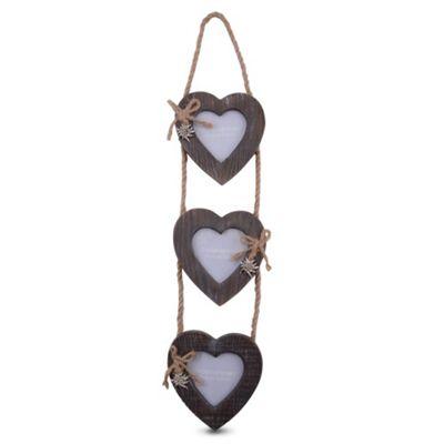 Triple Wooden Heart Photo Frame on Jute Rope Hanger