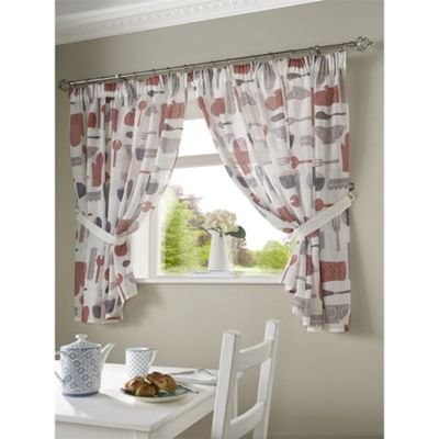 Alan Symonds Unlined Bistro Red Pencil Pleat Curtains - 46x42 Inches (117x107cm)