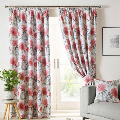 Homescapes Ashley Wilde Pink 'Sofia' Floral Curtains Lined Pencil Pleat, 46x54