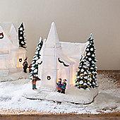 Battery LED Light Up White Chapel Christmas Decoration