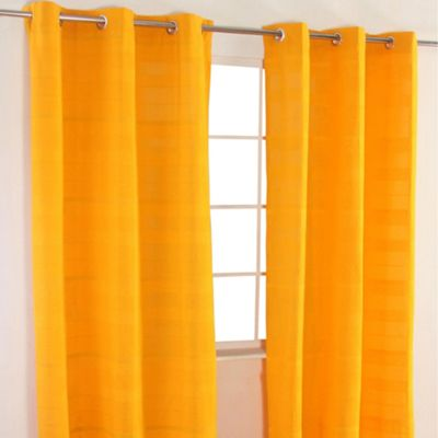 Homescapes Cotton Rajput Ribbed Yellow Curtain Pair, 66 x 72