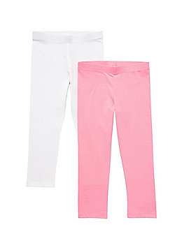 F&F 2 Pack of Cropped Leggings - Pink