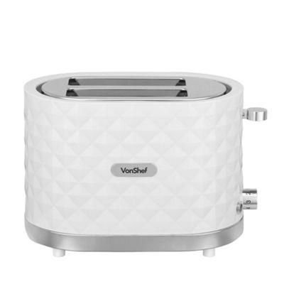VonShef Premium 1000W 2 Slice White Toaster