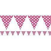 Pink Polka Dot Bunting - Plastic 3.6m