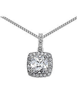 Rhodium Plated Sterling Silver Cushion Cubic Zirconia Halo Cluster Pendant Necklace 18 inch
