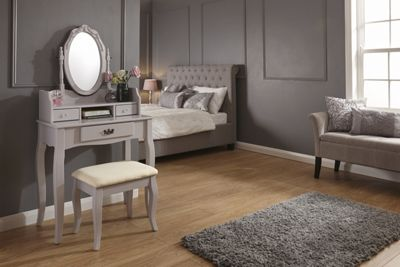 Lumberton Dressing Table & Stool Set Grey