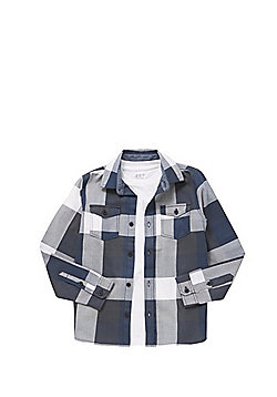F&F Checked Long Sleeve Shirt with T-Shirt - Blue
