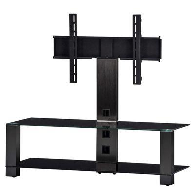 Sonorous Smoked Aluminium and Black Glass TV Stand