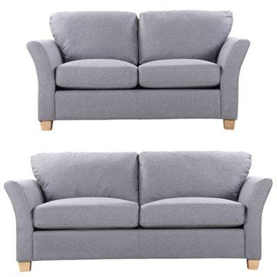 Sofa Collection Concord Herringbone Fabric 3+2 Sofa - Dark Grey